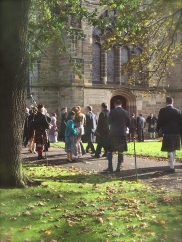 Kilts and bagpipes! This was a beautiful wedding on Saturday at King's College Chapel.