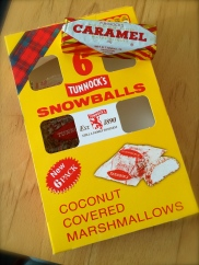 We were given these little delicious treats by our Scottish friend and his family. Made in Scotland. Coconut covered marshmallow snowballs and caramel wafer biscuits! MMMmmm. As you can tell, they won't last long.