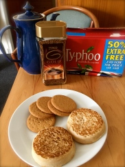 Teatime! Biscuits, crumpets, Typhoo British tea, and had to throw in the instant coffee too! Instant seems much more popular here than ground.
